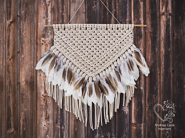 Macrame with brown and white feathers