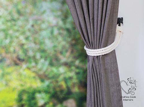 Ivory White Simple Three Strand Curtain Tiebacks