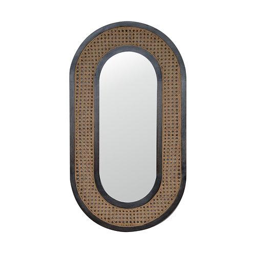 Carbon Black Rattan Mirror