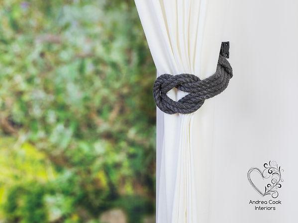 Grey Curtain Tie Back