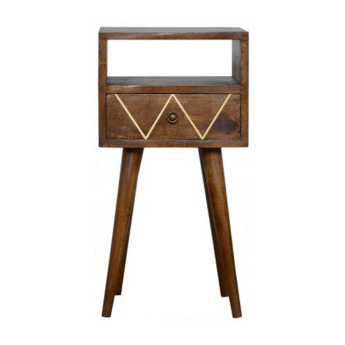 Mini Geometric Brass Inlay Bedside Table