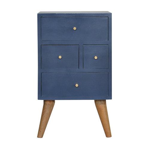 Dark Blue Painted Multi Drawer Bedside Table