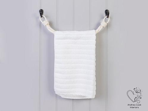 Ivory White Twisted Rope Towel Rail -  Nautical Rope Towel Holder