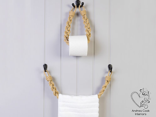Set of Braided Beige Rope Toilet Roll Holder and Toilet Roll Holder