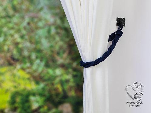 Navy Blue Cord Twisted Tiebacks - Navy Blue Tie Backs