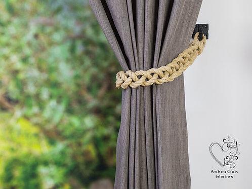 Chunky Beige Braided Tiebacks -  Braided Curtain Tie Backs, Holdback, Hold back