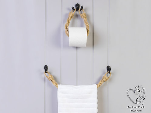 Set of Twisted Beige Rope Toilet Roll Holder and Towel Rail