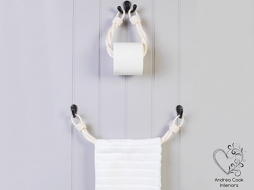 Set of Ivory White Twisted Rope Toilet Roll Holder and Towel Rail