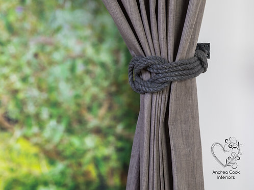 Large Charcoal Grey Double Square Knot Curtain Tie Backs - Curtain Holdback