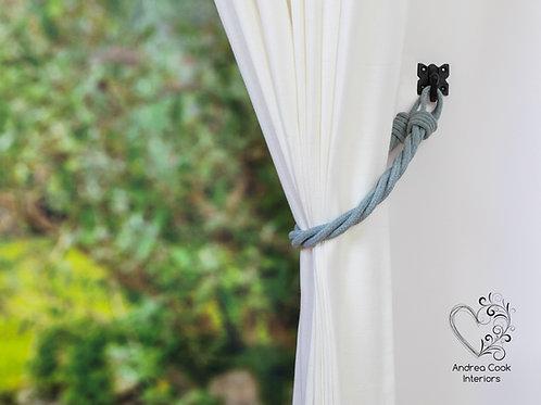 Light Grey Cord Twisted Tiebacks - Gray Tie Backs
