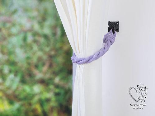 Heather Purple Carrick Knot Curtain Tiebacks, Tie back, Hold back, Holdbacks
