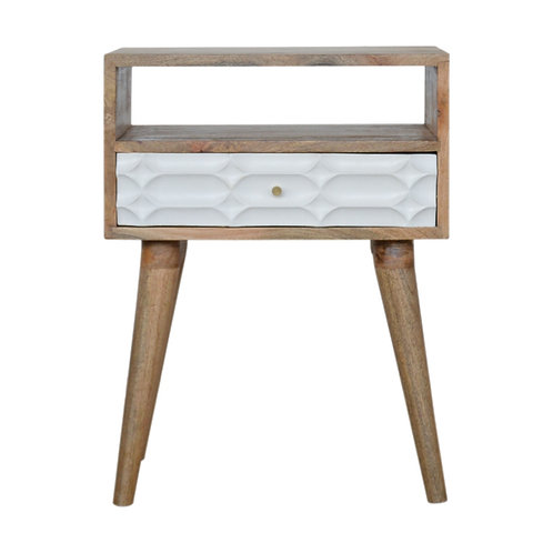 Capsule Carved Bedside Table with Open Slot