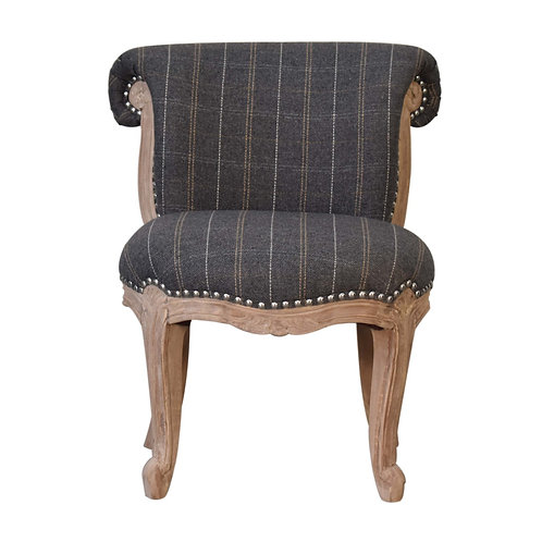 Pewter Tweed Studded Chair