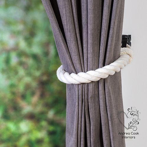 Chunky Ivory White Curtain Tiebacks - Curtain Tie Backs, Tie Back, Holdback