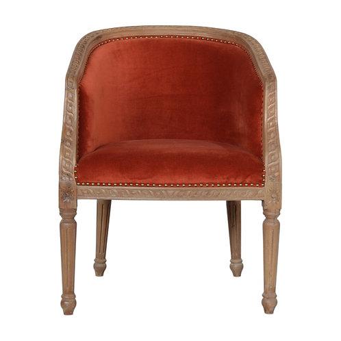 Brick Red Velvet Occasional Chair