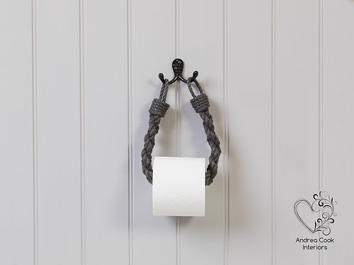 Chunky Braided Charcoal Grey Rope Toilet Roll Holder - Toilet Paper Holder