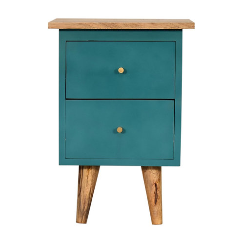 Teal Hand Painted Bedside Table