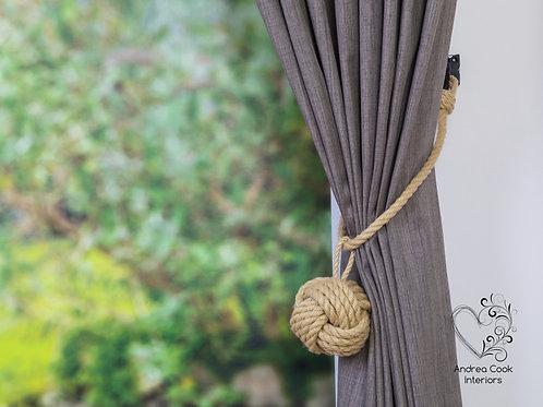 Large Beige Rope Monkey Fist Knot Pendant - Curtain Tie Back, Holdbacks Holdback