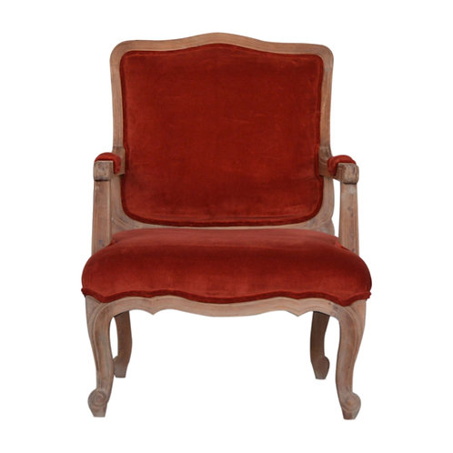 Brick Red Velvet French Style Chair