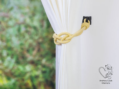 Lemon Yellow Carrick Knot Curtain Tiebacks, Tie back, Hold back, Holdb