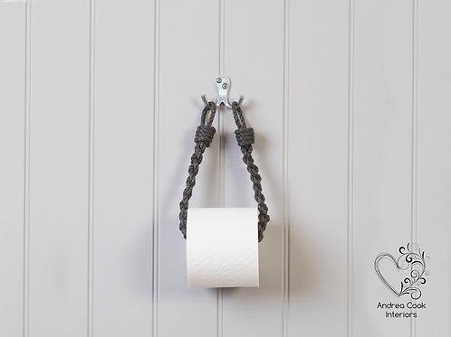 Slim Braided Charcoal Grey Toilet Roll Holder