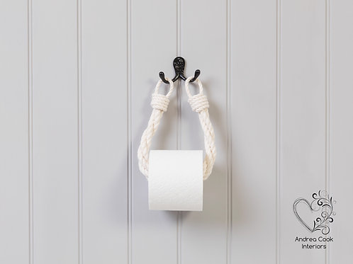 Ivory White Twisted Rope Toilet Roll Holder - Toilet Paper Holder