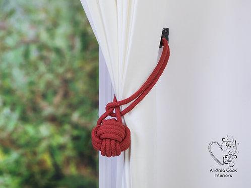 Large Terracotta Red Monkey Fist Tie back, Hold Back, Holdbacks, Tiebacks