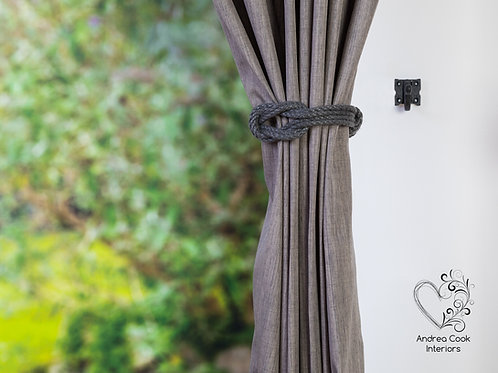Small Charcoal Grey Double Square Knot Tiebacks, Tie Back - Curtain Holdback