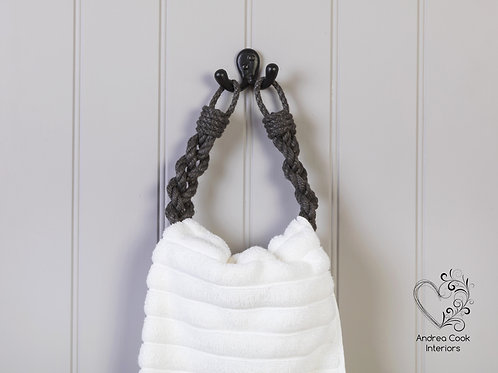 Charcoal Grey Chunky Braided Rope Hand Towel Holder