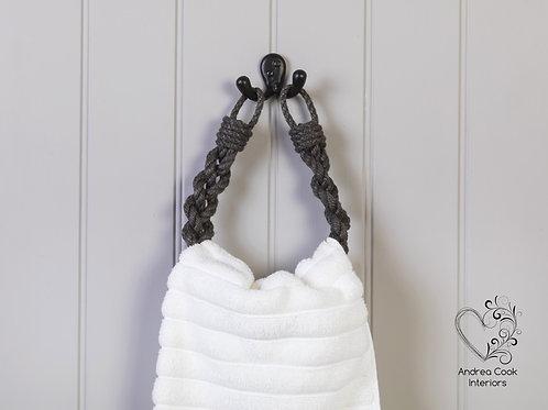 Charcoal Grey Chunky Braided Rope Hand Towel Holder - Towel Rail