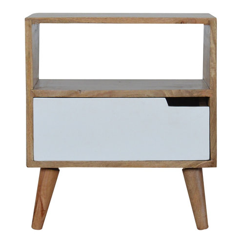 Open Slot White Painted Bedside Table