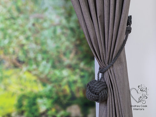 Large Charcoal Grey Rope Monkey Fist Knot Pendant - Curtain Tie Back