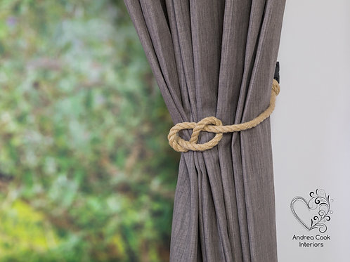 Beige Simple Nautical Knot Curtain Tieback - Tie Back, Hold Back, Holdbacks