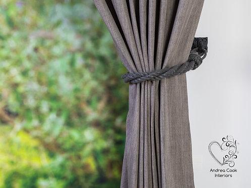 Charcoal Grey Twisted Tie Backs - Nautical Holdbacks, Curtain Tieback