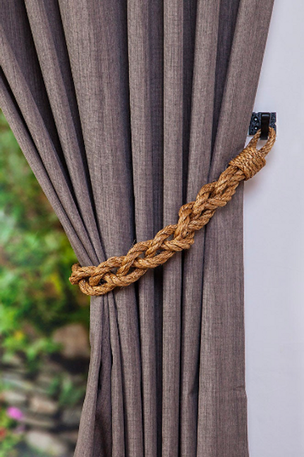 Chunky Braided Manila Rope Curtain Tiebacks, Tie back, Holdback, Holdbacks