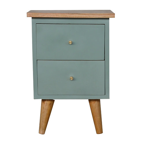 Green Hand Painted Bedside Table