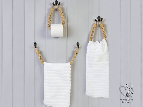 Full Set of Braided Beige Rope Toilet Roll Holder, Towel Rail and Towel Holder