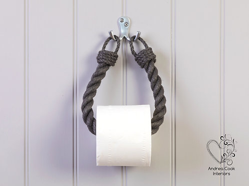 Chunky Charcoal Grey Rope Toilet Roll Holder - Toilet Paper Holder