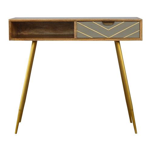 Sleek Cement Brass Inlay Writing Desk