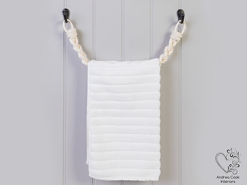 Chunky Ivory White Braided Rope Towel Rail -  Nautical Rope Towel Holder