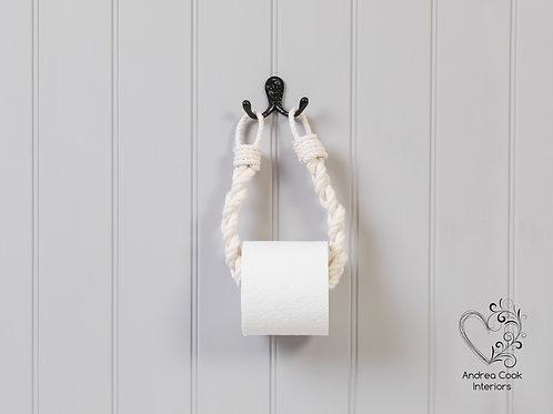Chunky Ivory White Braided Rope Toilet Roll Holder - Toilet Paper Holder