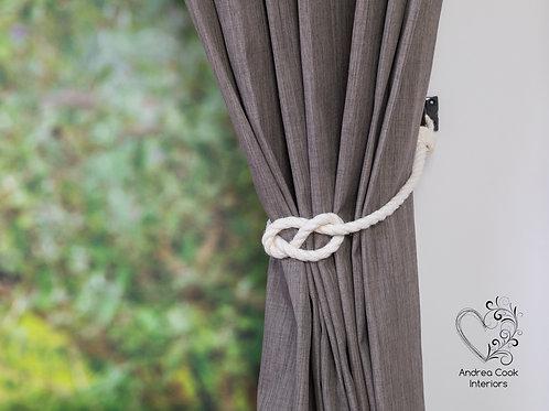 Ivory White Simple Nautical Knot Curtain Tiebacks