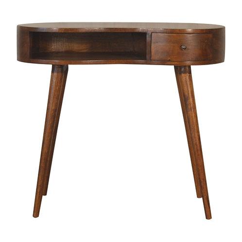 Chestnut Single Drawer Rounded Writing Desk