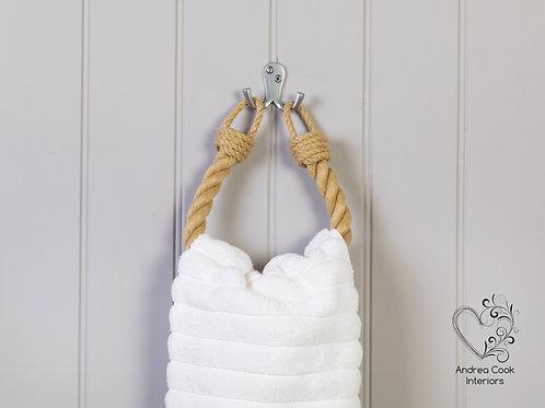 Chunky Beige Rope Hand Towel Holder - Nautical Towel Rail