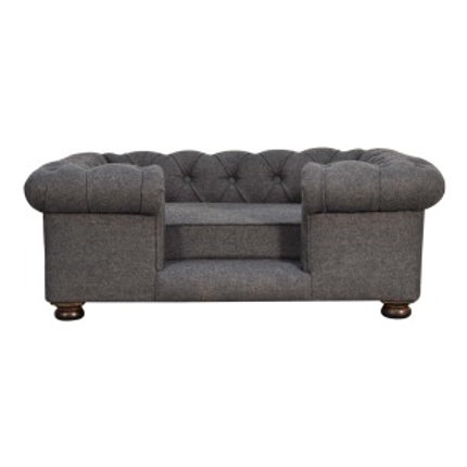 Battleship Tweed Deep Button Pet Sofa Bed