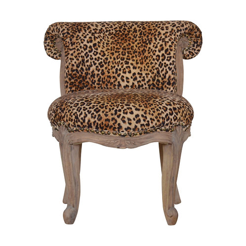 Leopard Print Velvet Studded Chair