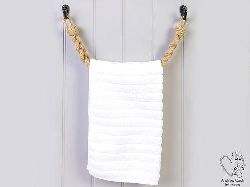 Chunky Braided Beige Rope Towel Rail - Rope Towel Holder