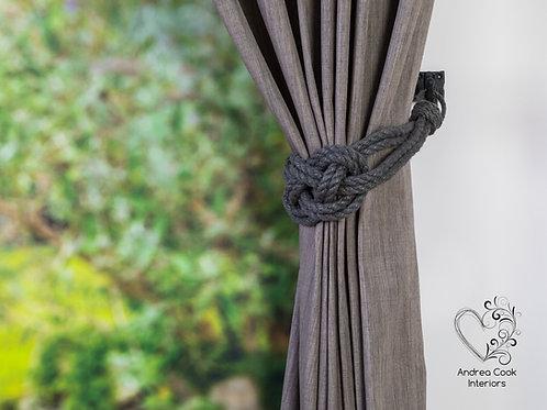 Large Charcoal Grey Carrick Bend Knot Curtain Tiebacks, Tie Back, Holdbacks