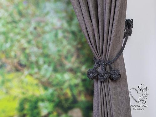 Charcoal Grey Triple Monkey Fist Knot Tassel - Beige Tiebacks, Curtain Hol