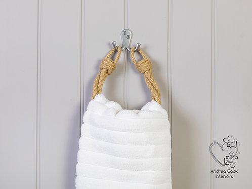 Beige Twisted Rope Hand Towel Holder - Nautical Towel Rail